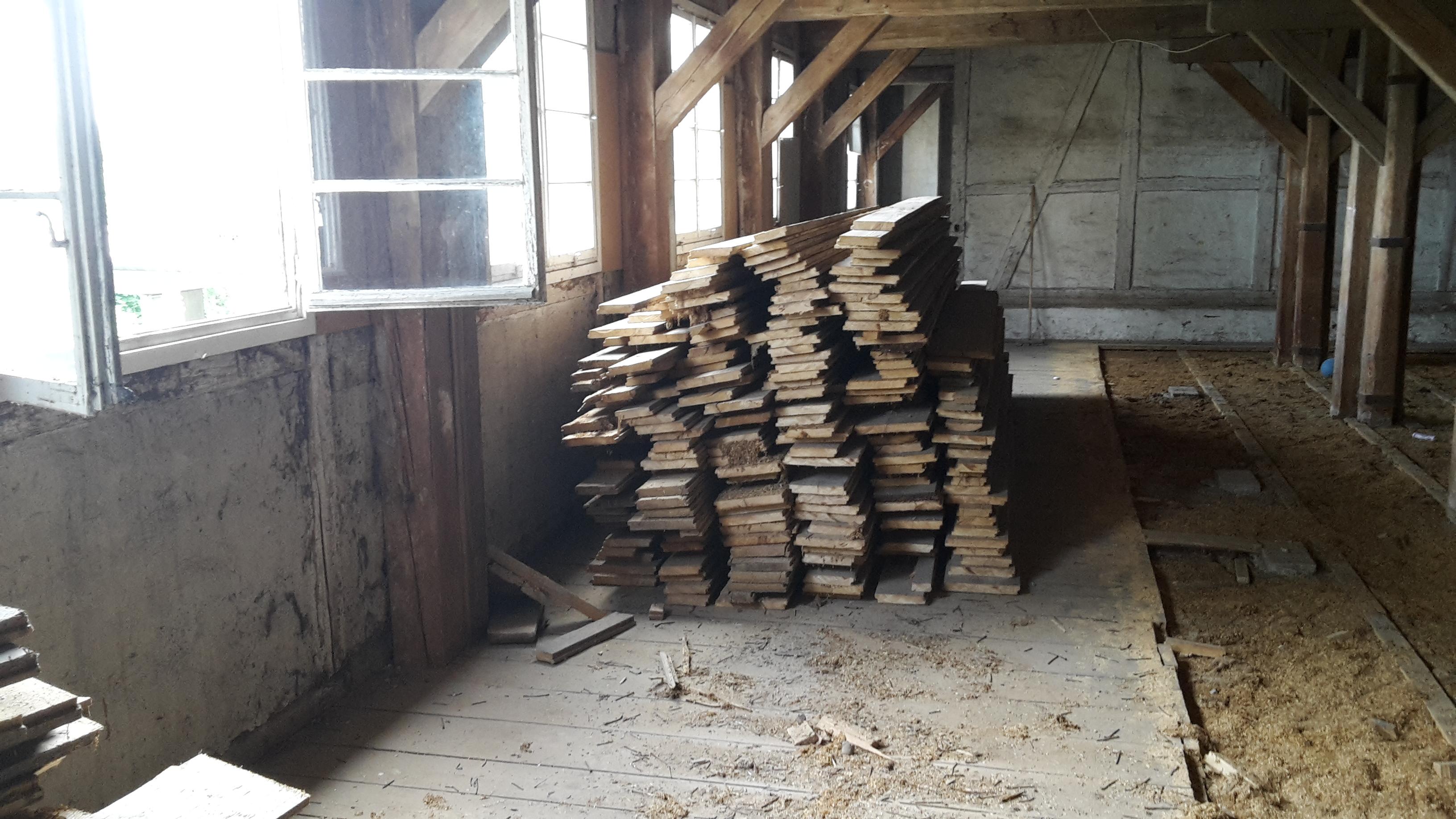 Ausgebaute Holzdielen des Raiffeisengebäude in Ravensburg
